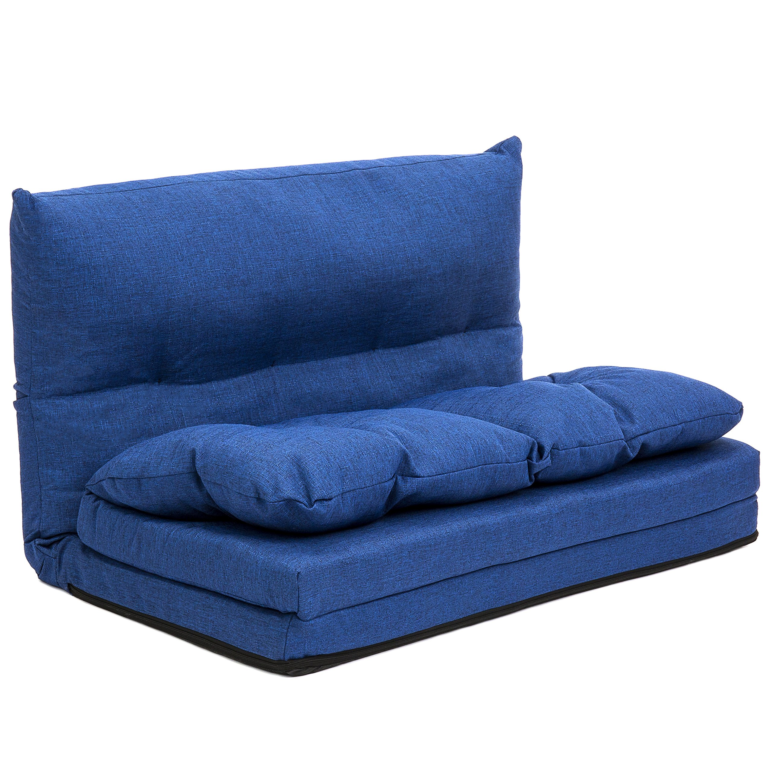 Best Choice Products Linen Folding Futon Chaise Lounge Sofa Gaming Chair Floor Couch, Blue by Best Choice Products