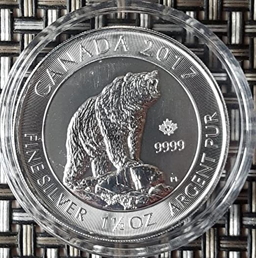 15 Unze Oz Canada Grizzly Bär 2017 Silbermünze Silber Münze Neu In
