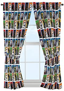 """Star Wars Classic 63"""" Drapery /Curtain 4pc Set (2 Panels, 2 Tie backs) - R2D2, C3PO, Chewbacca, Darth Vader, Stormtrooper - Official Star Wars Product"""