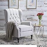 Elizabeth Tufted Light Grey Fabric Recliner Arm Chair