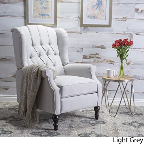 Christopher Knight Home Elizabeth Tufted Light Grey Fabric Recliner Arm Chair