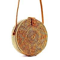 Seven Island Handwoven Round Rattan Bag Shoulder Leather Straps Natural Bamboo Bag Straw Beach Bag Premium Quality 100% Hand Woven Clutch Wicker Purse Handbag