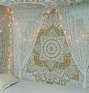 "New Launched Popular Handicrafts Kp643 The Passion Gold Ombre Tapestry Indian Mandala Wall Art, Hippie Wall Hanging, Bohemian Bedspread 84""x90""(215x230cms)"