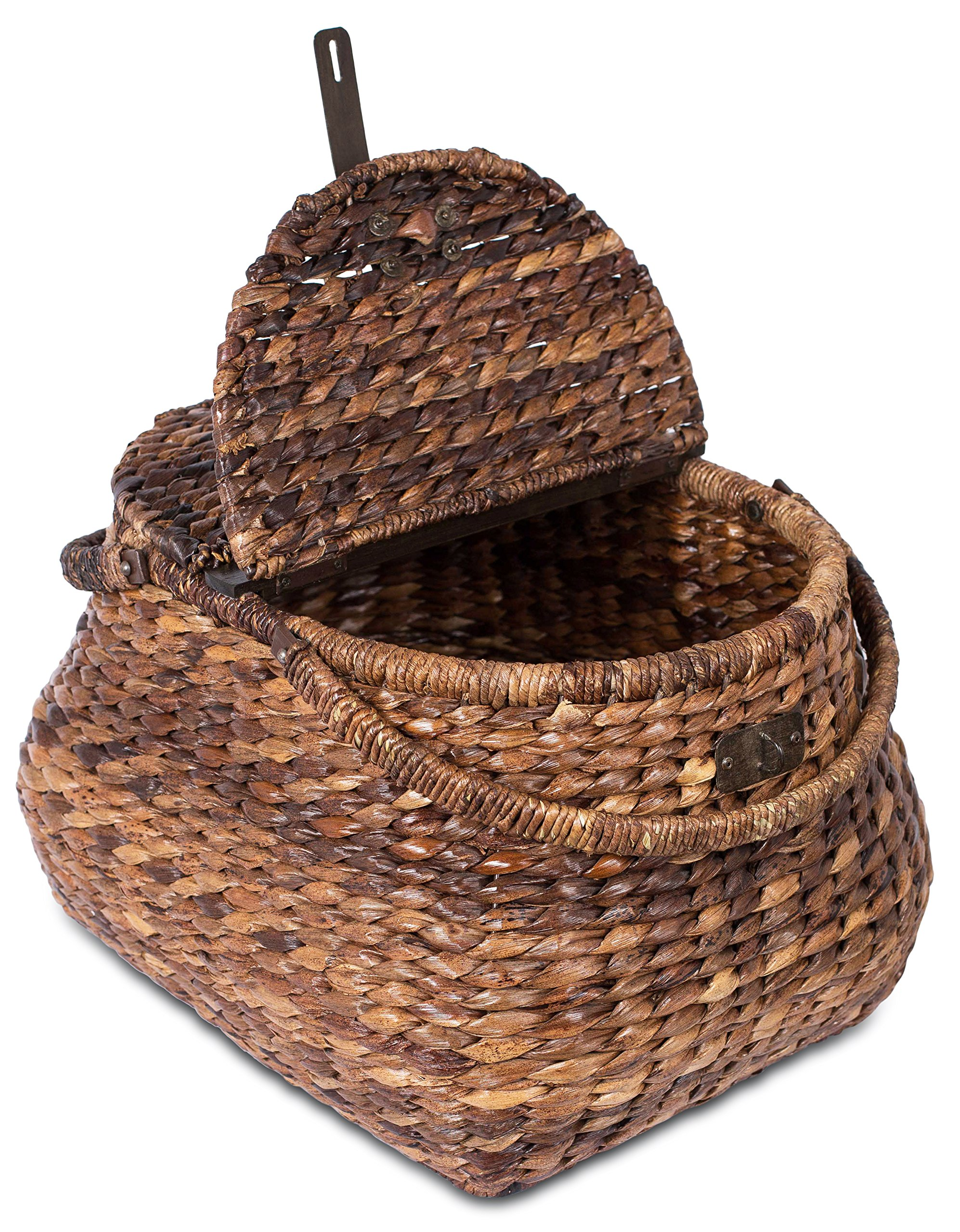 BirdRock Home Seagrass Picnic Basket | Hand Woven | Espresso | Decorative Metal Latches | Divided Lid | Home Décor | Folding Handles