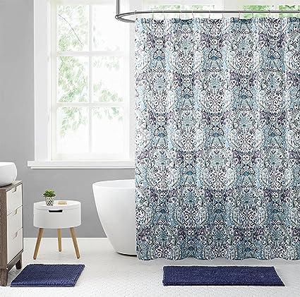 Elegant Blue Green Purple Fabric Shower Curtain: Large Floral Paisley Print  Design, 72u0026quot;