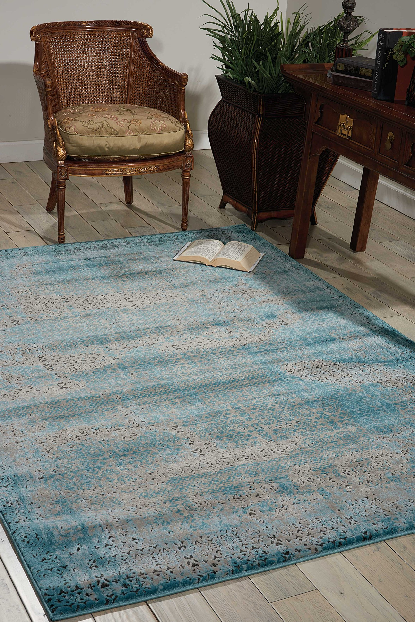 Nourison Karma (KRM01) Blu Rectangle Area Rug, 9-Feet 3-Inches by 12-Feet 9-Inches (9'3'' x 12'9'') by Nourison