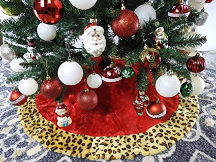 40 red with leopard trim christmas tree skirt