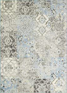 Maples Rugs Vintage Patchwork Distressed 5 x 7 Non Slip Large Rug [Made in USA] for Living, Bedroom, and Dining Room, Teal