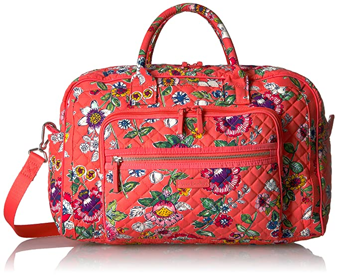 554e00d2a Vera Bradley Women's Iconic Compact Weekender Travel Bag-Signature, Coral  Floral