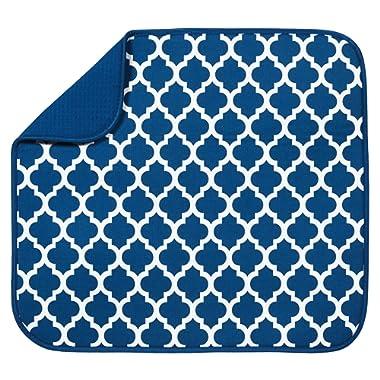 STS 582301 Trellis Dish Drying Mat, 16  x 18 , Blue