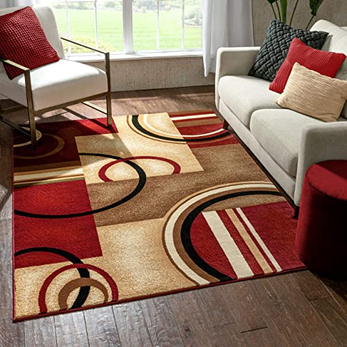 Well Woven Deco Rings Red Geometric Modern Casual Area Rug 9×13 9'3″ x 12'6″ Easy to Clean Stain Fade Resistant Shed Free Abstract Contemporary Color Block Boxes Lines Soft Living Dining Room Rug