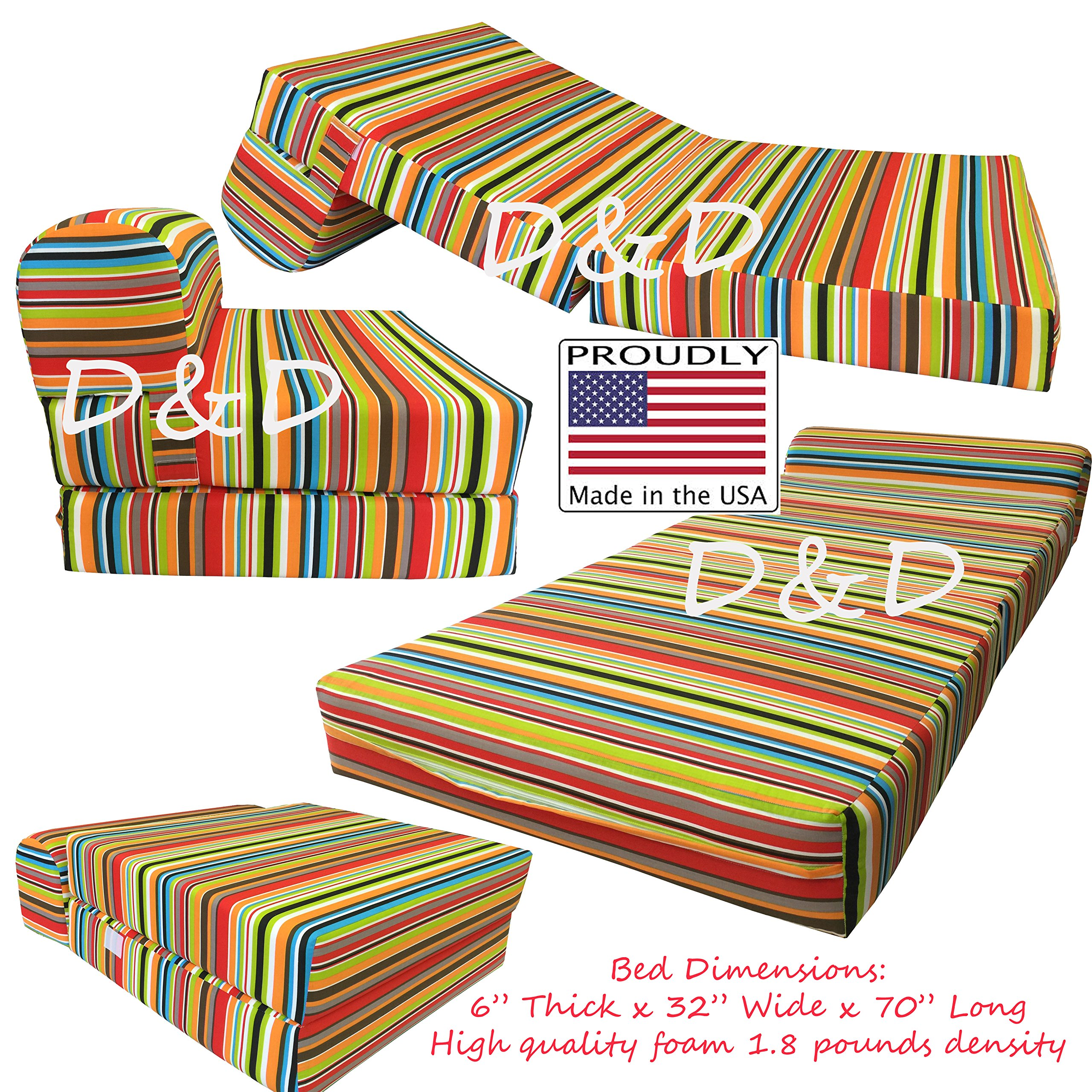 Multi Colors Stripes Twin Size Sleeper Chair Folding Foam Beds, Foam 1.8 Pounds Density Sofa Beds Couches 6'' Thick X 32'' Wide X70'' Long.