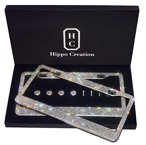 01f467b4ee4f 2 Pack Luxury Handcrafted Bling White Rhinestone Premium Stainless Steel  License Plate Frame with GiftBox