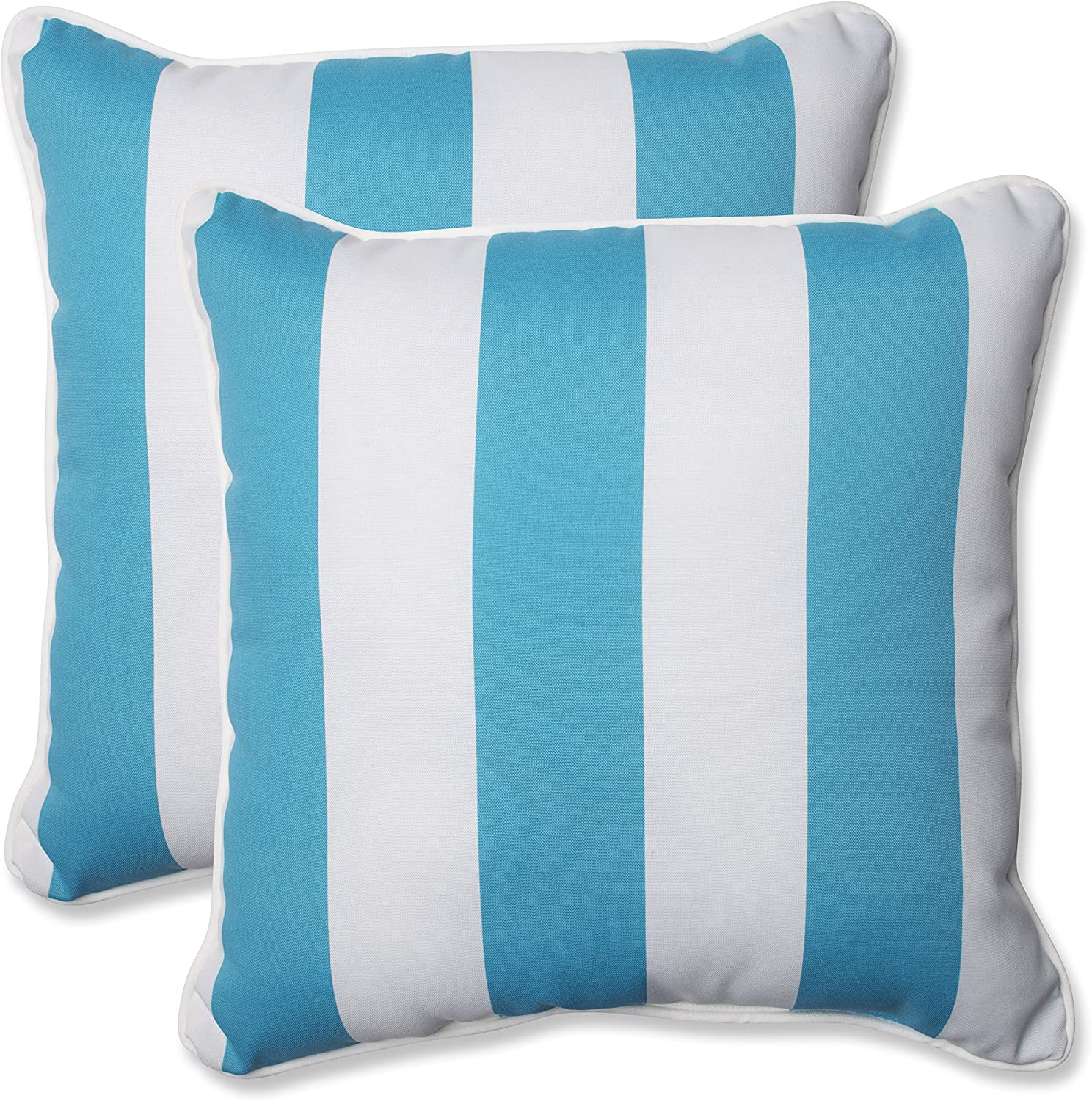 Pillow Perfect Outdoor Indoor Cabana Stripe Turquoise Square Pillows 18 5 X 18 5 2 Pack Home Kitchen