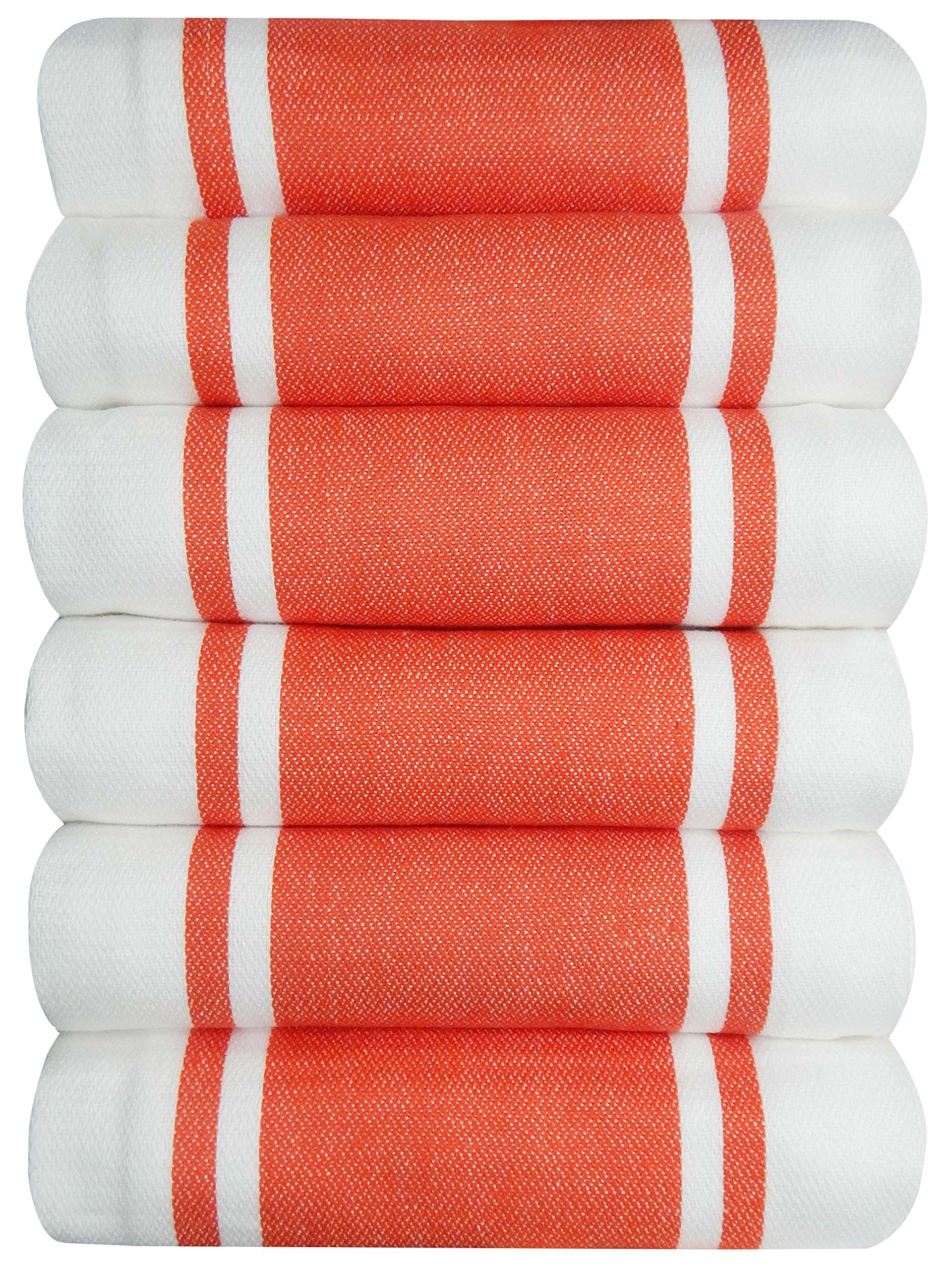 Tiny Break Dish Kitchen Towels Vintage Striped 100% Cotton Tea Towel 20 x 28 inch Set of 6, Spice
