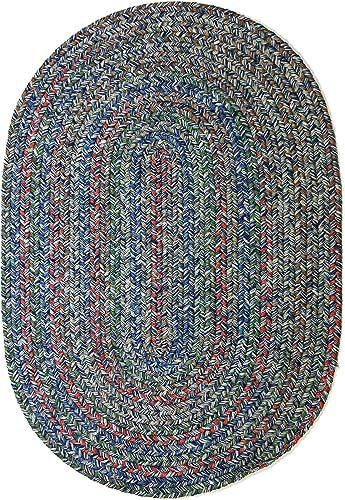 RRI Home Decor Sonya Indoor Outdoor Oval Reversible Braided Rug, 2 by 3-Feet, Denim Multicolor