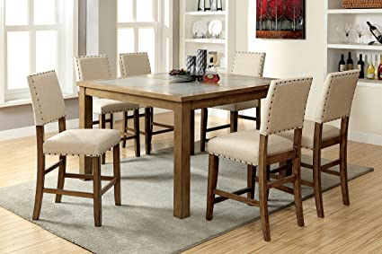 Furniture Of America Lucena 7 Piece Transitional Pub Dining Set