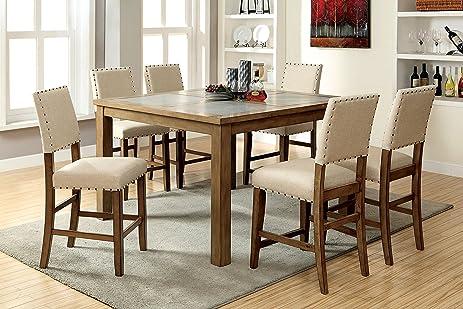 Furniture Of America Lucena 7 Piece Transitional Pub Dining Set
