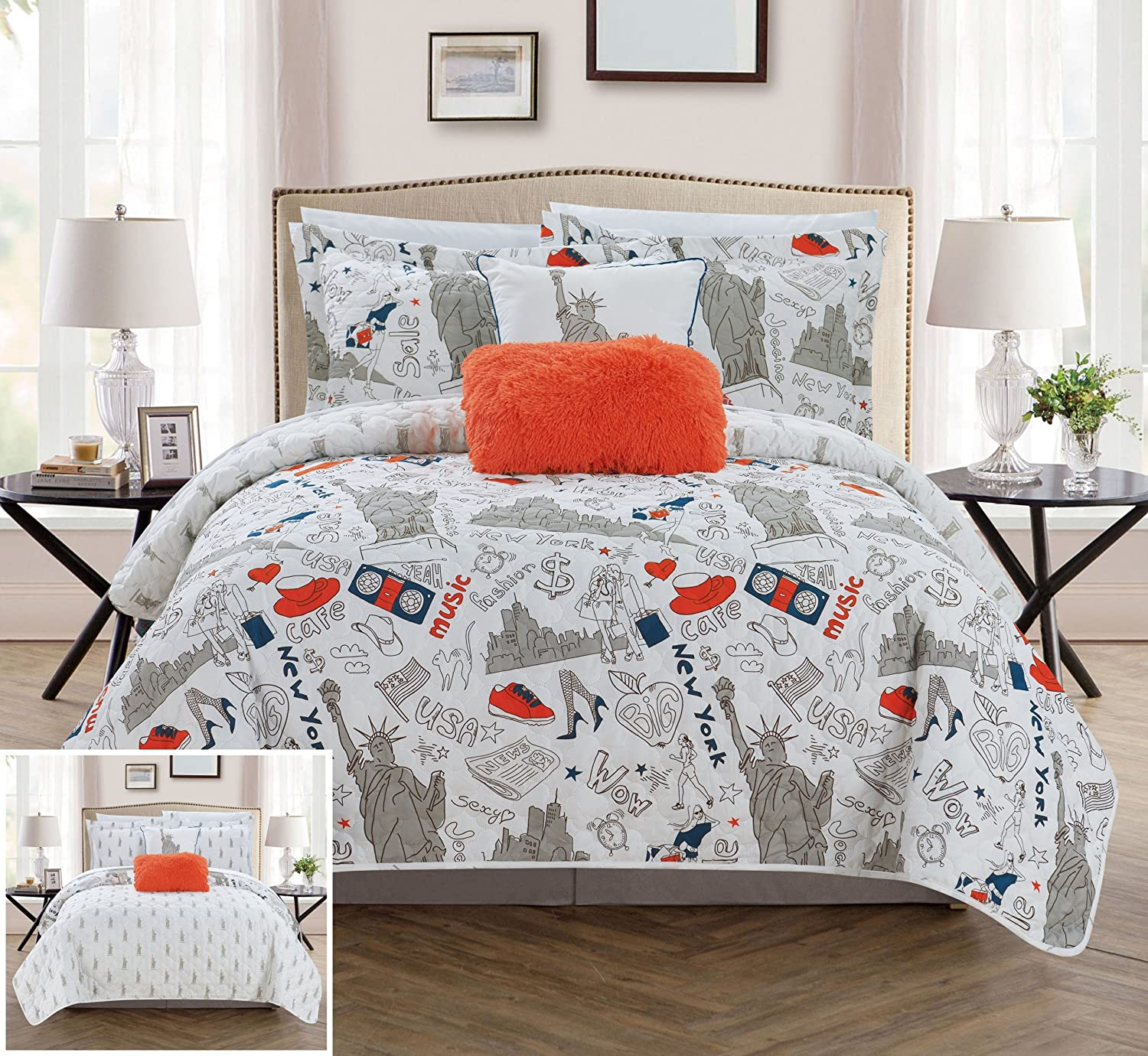 Chic Home BQS15099-AN New York 4 Piece Reversible Quilt Set City Inspired Printed Design Coverlet Bedding - Decorative Pillows Sham Included/XL Size, Twin, Navy