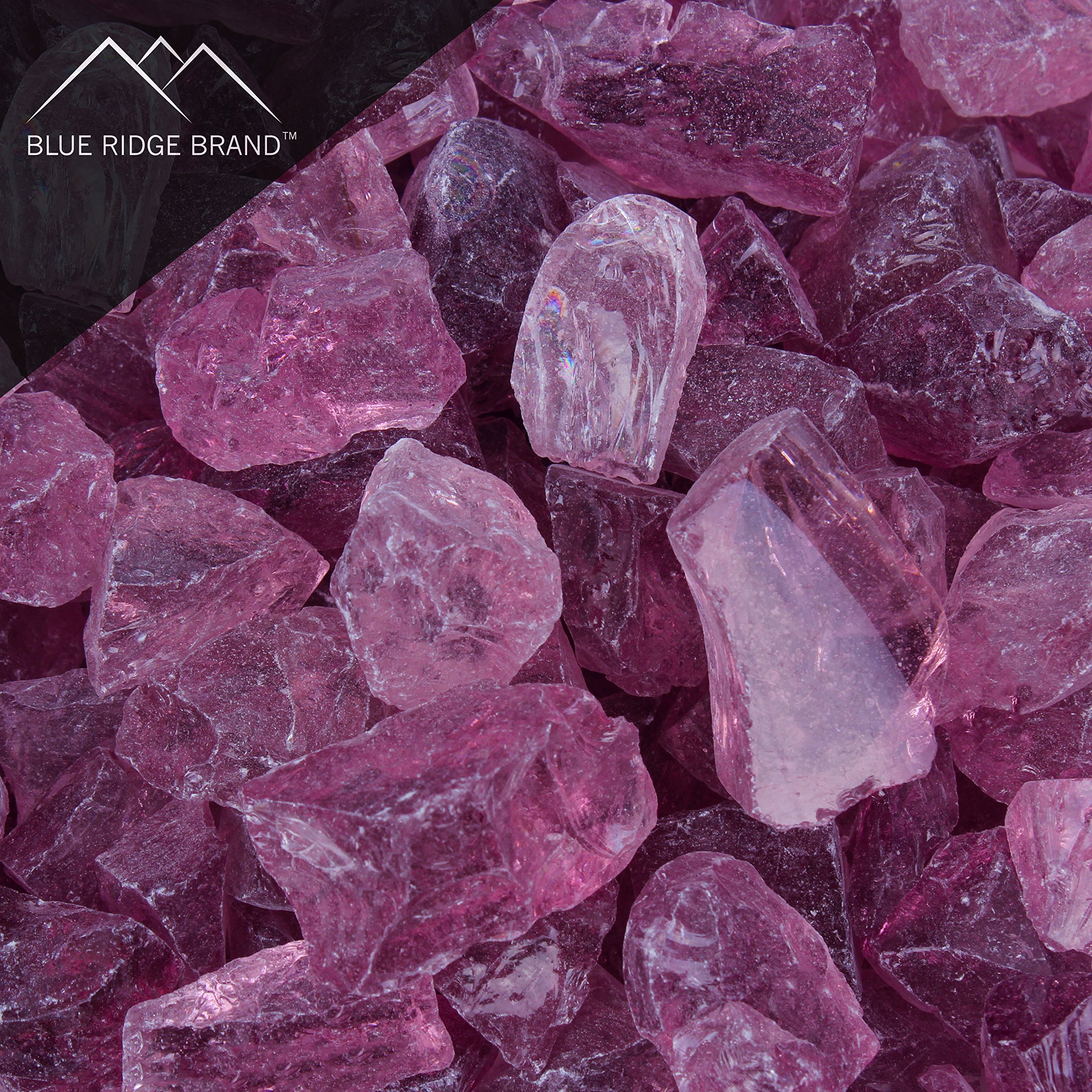 Blue Ridge Brand trade; Light Purple Fire Glass - 5-Pound Professional Grade Fire Pit Glass - 1/2'' Glass Rocks for Fire Pit and Landscaping by Blue Ridge Brand