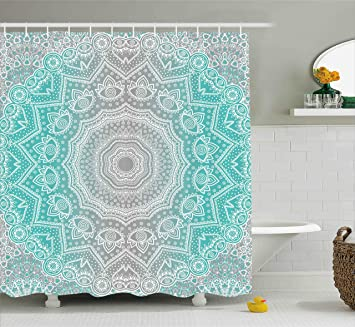 Grey And Turquoise Shower Curtain. Grey and Turquoise Shower Curtain by Ambesonne  Primitive Spiritual Essence Universe Harmony Mandala Ombre Amazon com