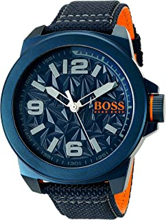 BOSS Orange Mens NEW YORK Quartz Resin and Canvas Casual Watch, Color: