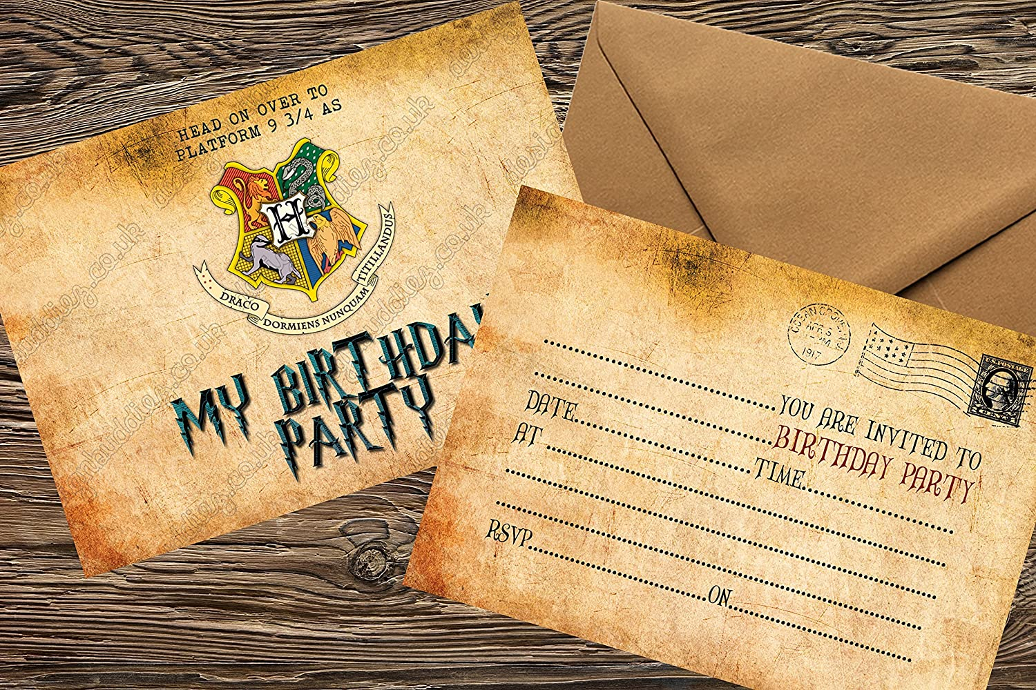 design buddies 20x Harry Potter birthday Party thick Invitations NO ENVELOPES harry potter hogwarts crest party invites