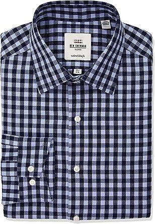 Ben Sherman Hombre HBS0627 Cuello tipo italiano] Camisa de vestir - Azul - 37 cm Cuello 81 cm- 84 cm Manga: Amazon.es: Ropa y accesorios