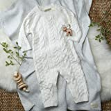Hope & Henry Layette White Cable Knit Sweater Romper