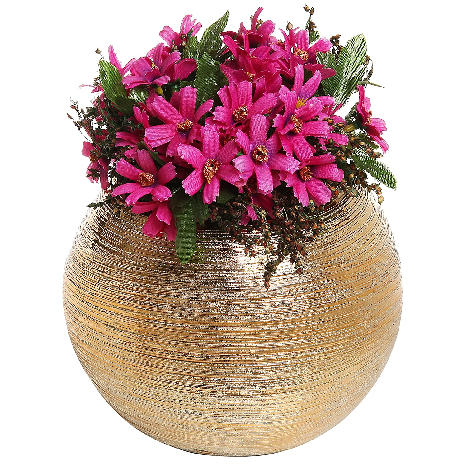 Amazon 675 inch round modern metallic gold tone ridged amazon 675 inch round modern metallic gold tone ridged ceramic plant flower planter pot decorative bowl vase home kitchen reviewsmspy