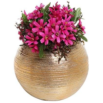 Amazon 675 inch round modern metallic gold tone ridged ceramic 675 inch round modern metallic gold tone ridged ceramic plant flower planter pot decorative bowl mightylinksfo