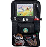 Backseat Car Organizer for Kids, Babies & Toddlers by BABYSEATER iPad Tablet Touch Screen Holder, Wet Wipes Tissue Pocket Stretchy Mesh Storage. Kick Mat Seat Back Protector Perfect Christmas Gift