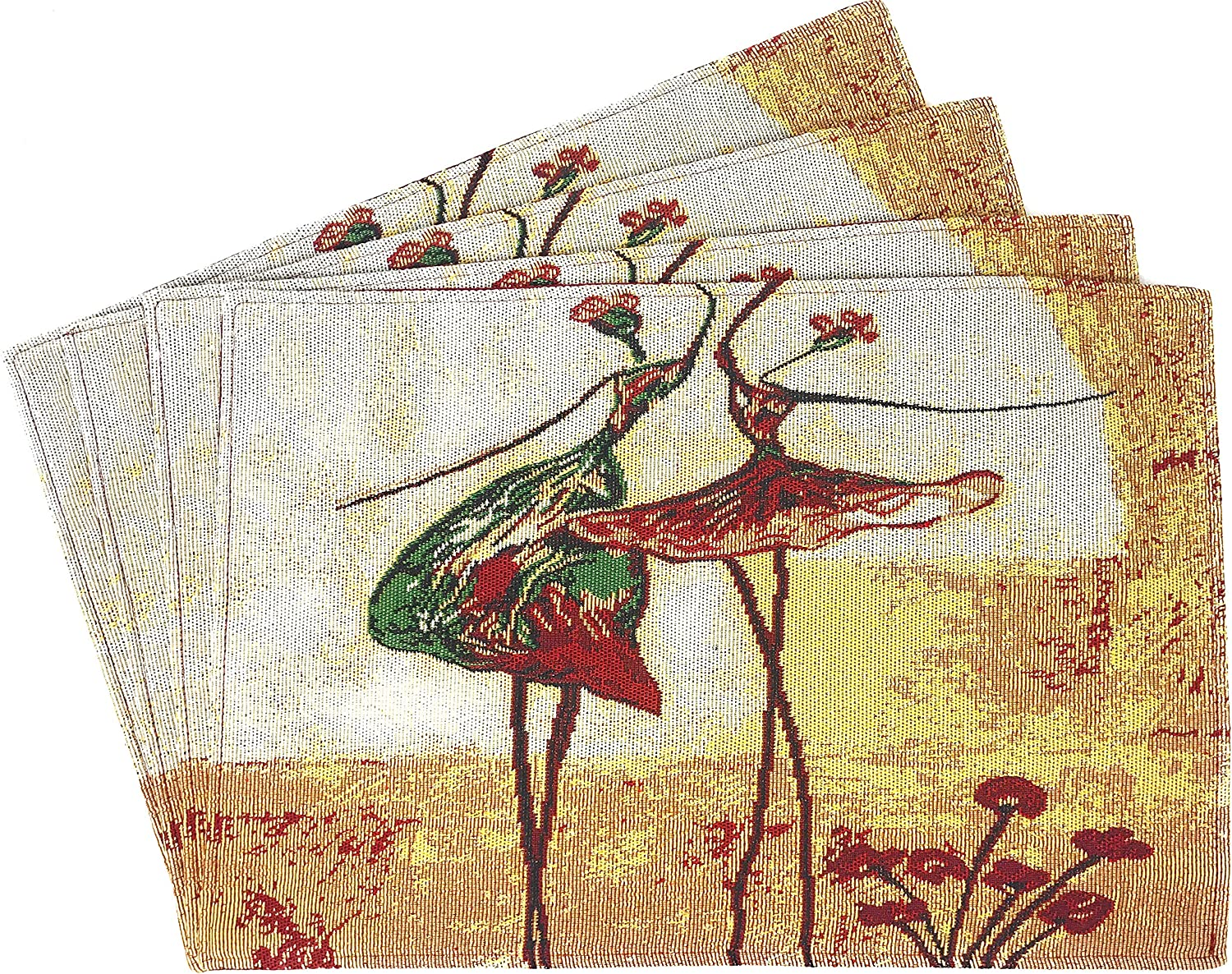 Tache Abstract Art Dancing Ladies Woven Placemat - Vintage Tapestry Place Mat - Set of 4
