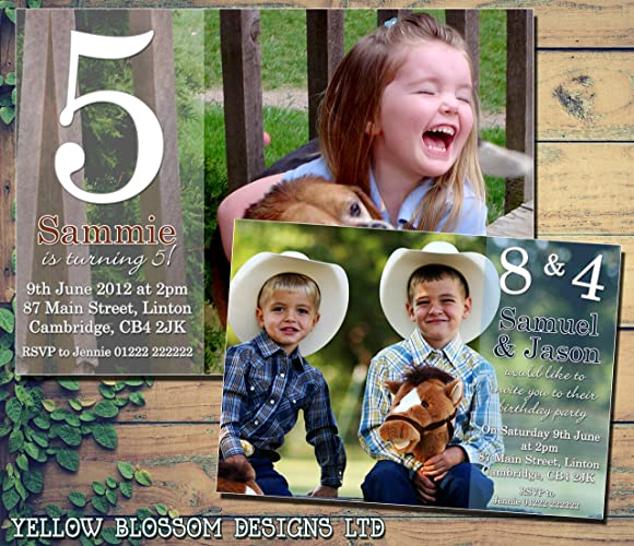 Personalised Childrens Birthday Invitations Printed Invites Boy Girl Joint Party Twins Unisex Full Photo Card 1st