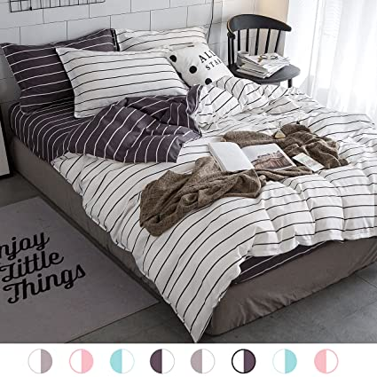 c1f22e13fb4a Amazon.com: ZHIMIAN Bedding Reversible 3 Piece Striped Print Duvet Cover Set  with Zipper Closure(1 Duvet Cover + 2 Pillow Shams)(King,White With Grey):  Home ...