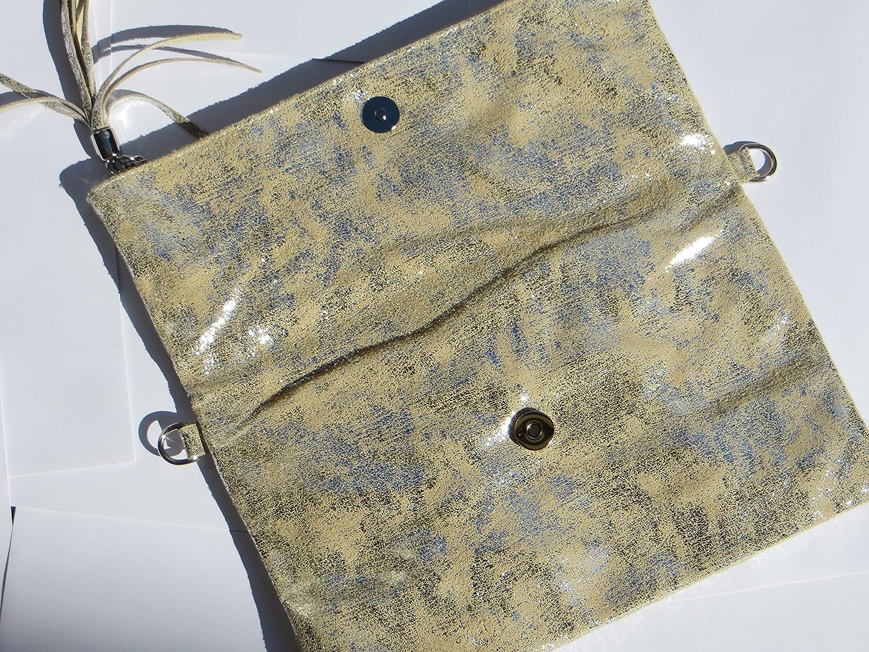 0f4afa605e010 Trendstyle Clutch kleine Tasche Vintage Gold Beige Bommel Echtleder Elegant   Amazon.de  Schuhe   Handtaschen