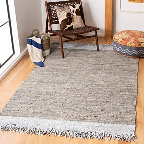 Safavieh Vintage Leather Collection VTL310D Hand-Woven Light Grey and Dark Grey Area Rug 8 x 10