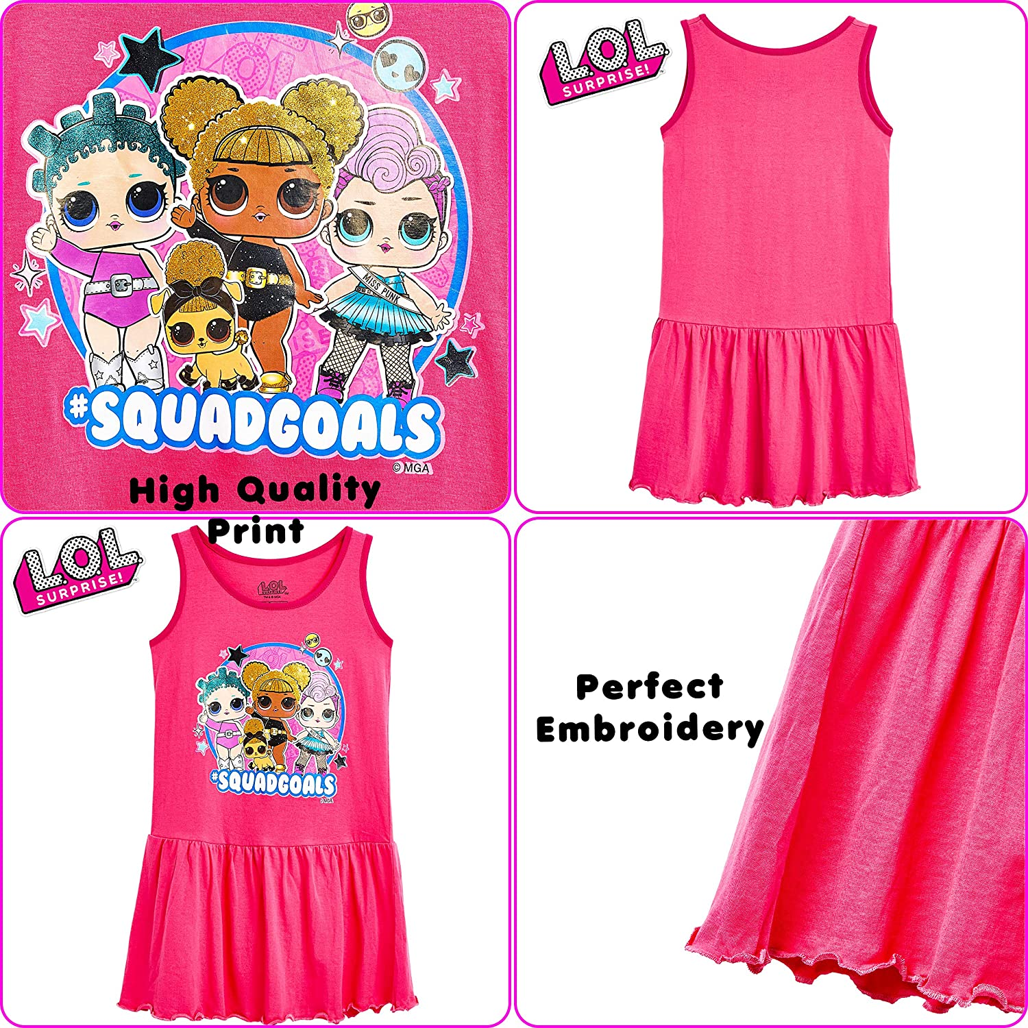 Sleeveless Pink Girls Dress 100/% Cotton Confetti Pop Toddler Children Summer Clothes L.O.L LOL Dolls Dress for Girls Surprise Gift for 4 5 6 7 8 9 10 11 12 Year Old Girl