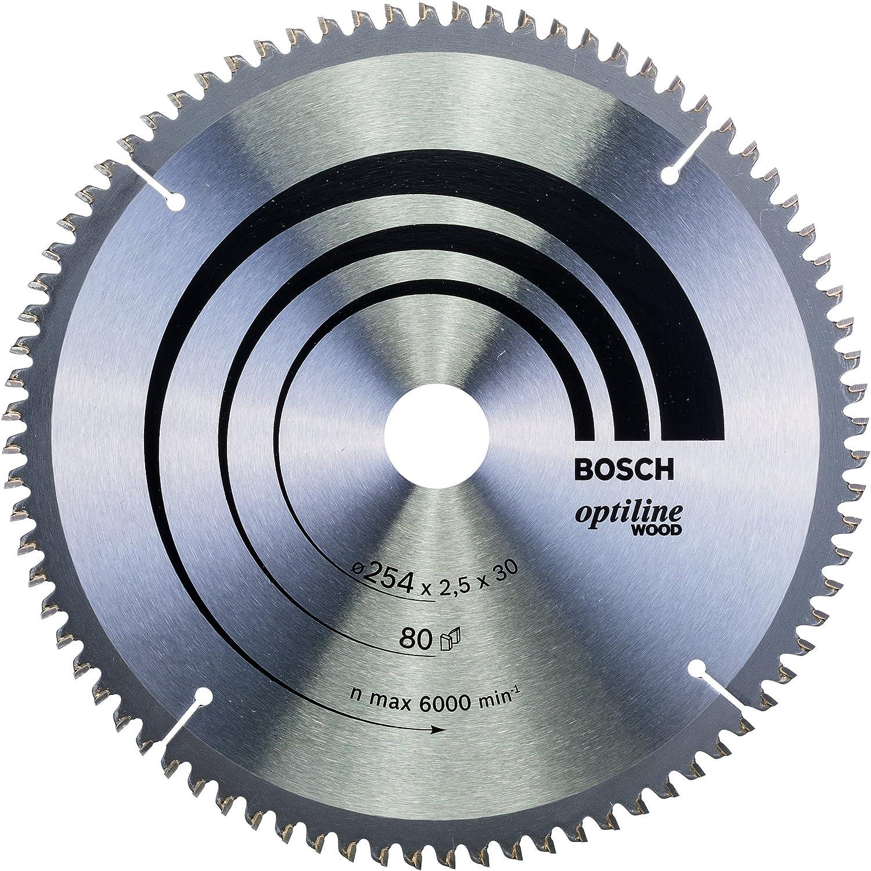 Bosch 2 608 640 437 - Hoja de sierra circular Optiline Wood (254 x 30 x 2,5 mm, 80)