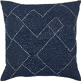 "Stone & Beam Transitional Woven Diamond Pillow Cover, 20""x20"", Indigo"