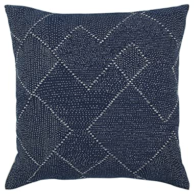 Stone & Beam Transitional Woven Diamond Decorative Throw Pillow Cover, 20  x 20 , Indigo