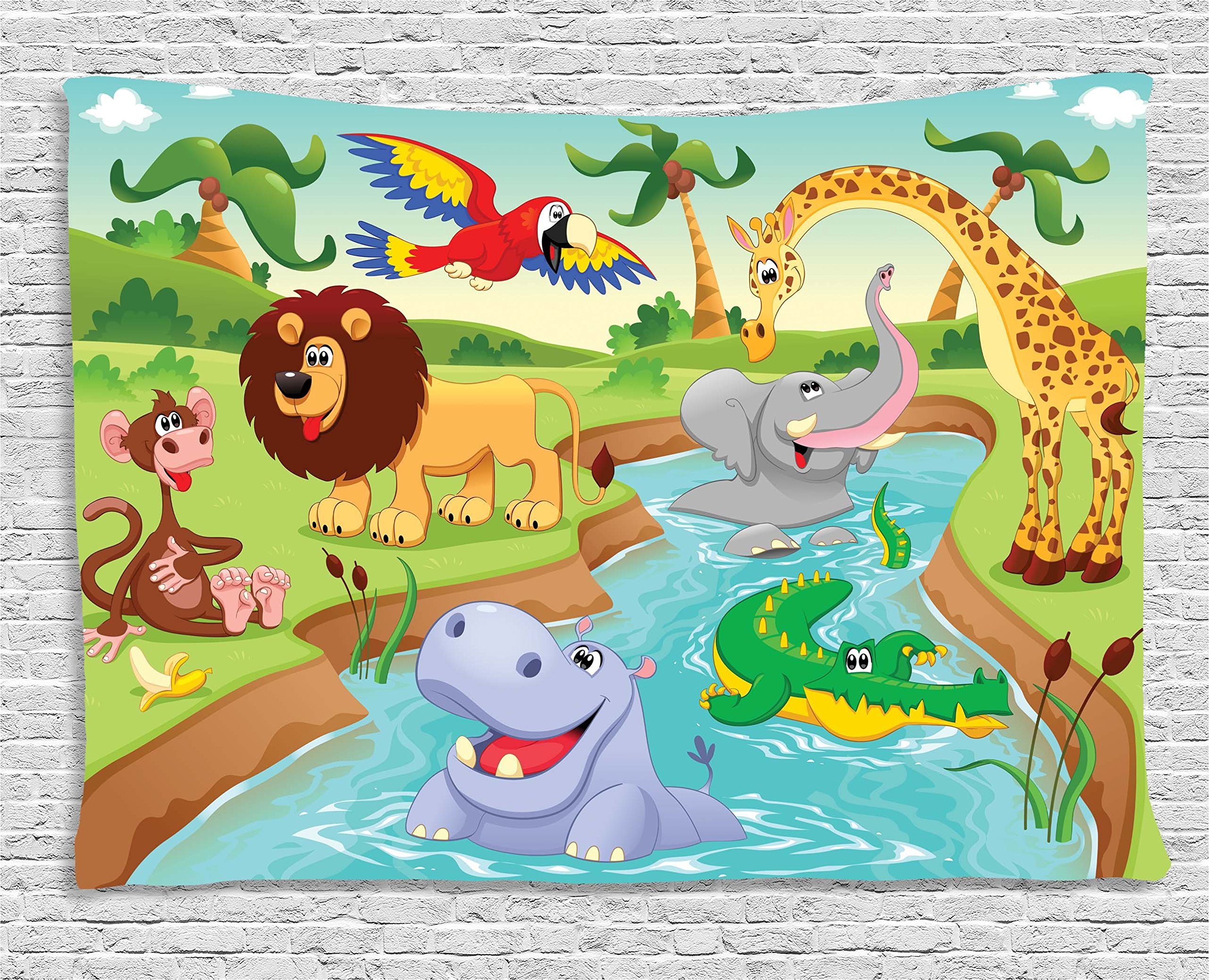 Ambesonne Kids Decor Tapestry, Cartoon Safari African Animals Swimming in The Lake Elephant Lions and Giraffe Art, Wall Hanging for Bedroom Living Room Dorm, 60 W X 40 L inches, Multi