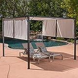 Great Deal Furniture Dione Outdoor Steel Framed 10' by 10' Gazebo, Beige