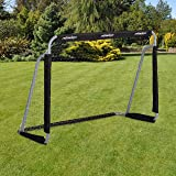 Relaxdays fotboll, professionell fotboll för barn och vuxna, med nätnät, för trädgård, HBT 110 x 150 x 75 cm, grå/svart