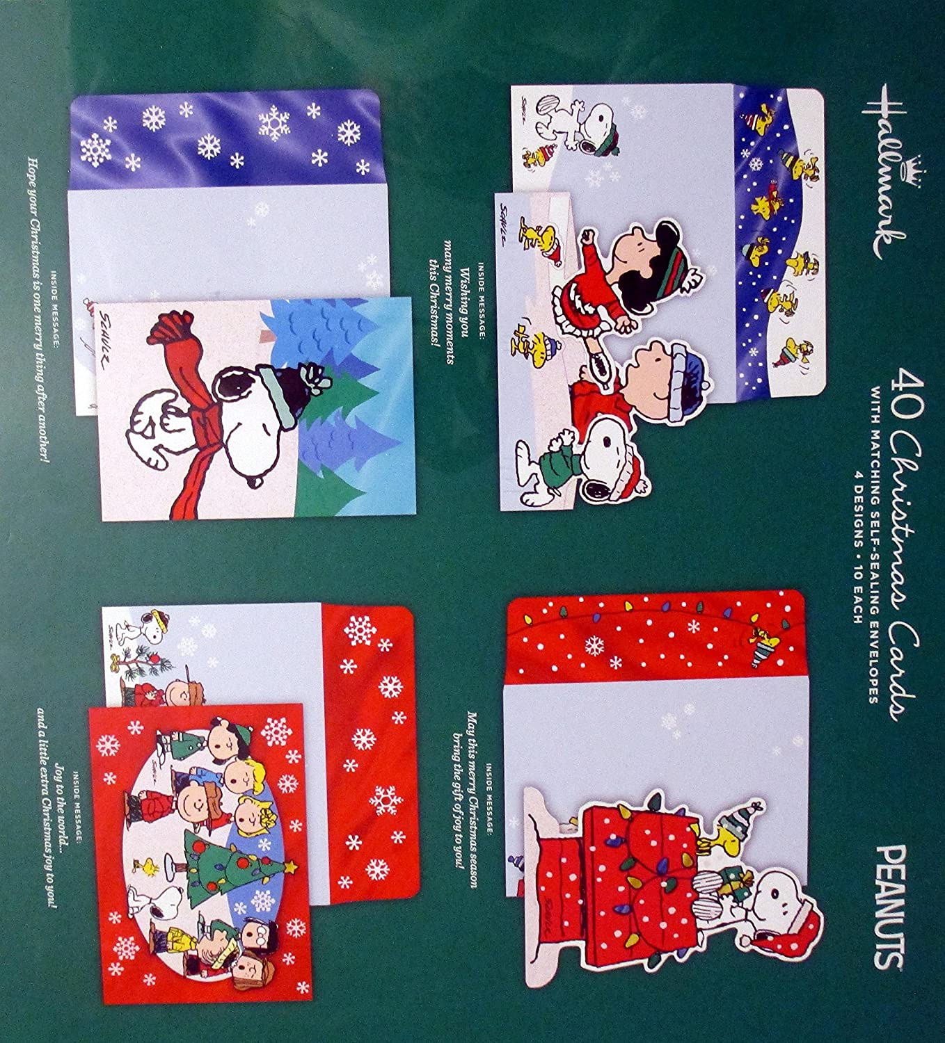 Amazon.com : Hallmark Peanuts Traditional Christmas Cards with Foil ...