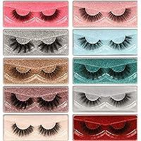 Faux Mink Eyelashes 10 Pairs 10 Styles Mixed Lashes Pack Fluffy Volume Natural Look Wispy Medium Length False Eyelashes…