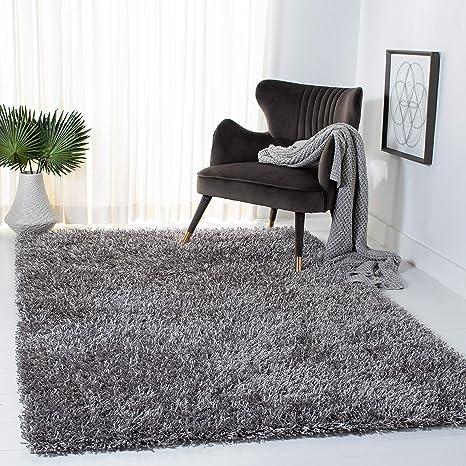 Safavieh New Orleans Shag Collection Sg531 Handmade 1 6 Inch Thick Area Rug 5 X 8 Grey Grey Furniture Decor