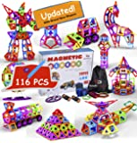 Magnetic Building Blocks, Magna Tiles, Educational Magnetic Toys for Boys, Construct Set for Girls, Non Toxic ABS Magnetic Blocks to Stimulate Imagination, Maths Toys, with Storage Bag.