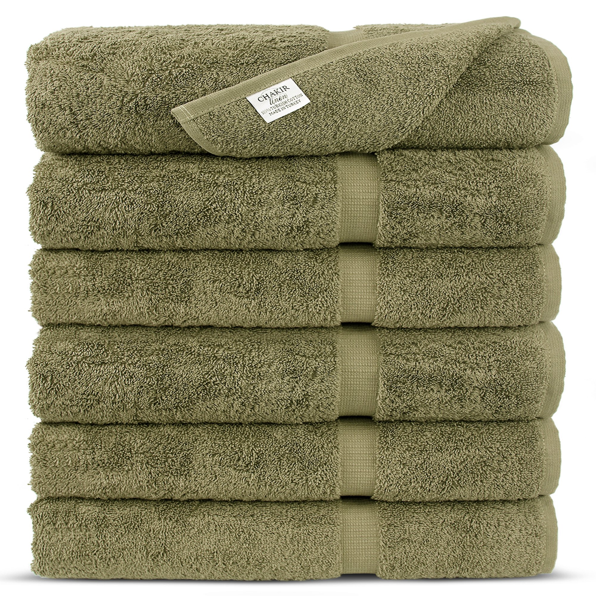 Premium Long-stable Turkish Cotton-Eco Friendly 6-Piece Washcloths (Driftwood)