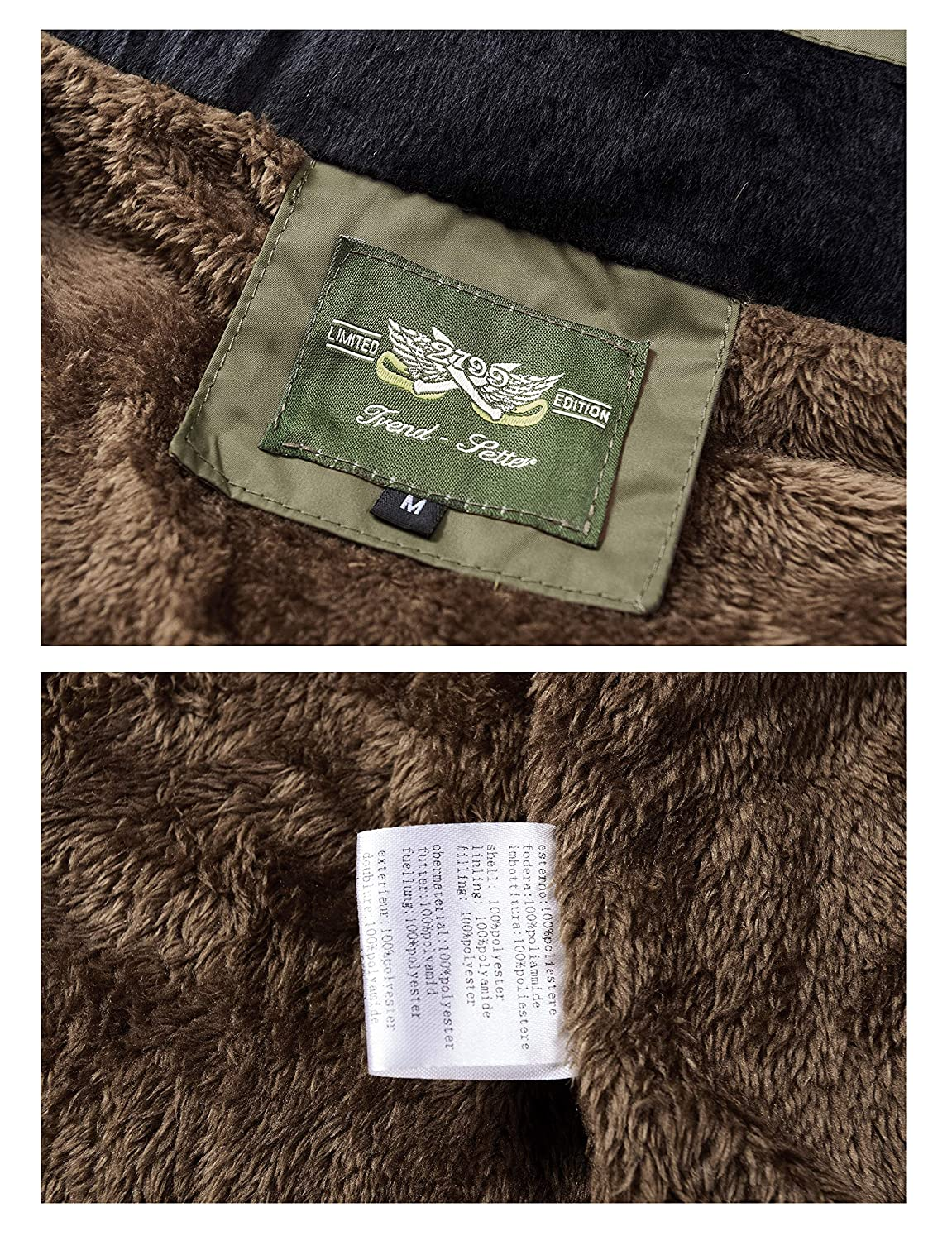 RongYue Mens Winter Thicken Coat Faux Fur Lined Quilted Jacket with Removable Hood